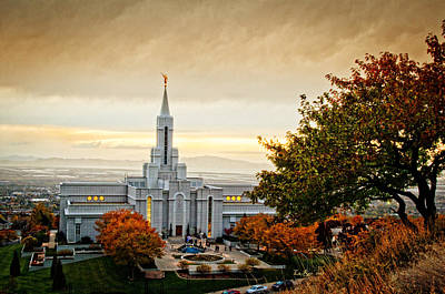 Mormon Temple Photograph - Bountiful Temple Tree by La Rae  Roberts