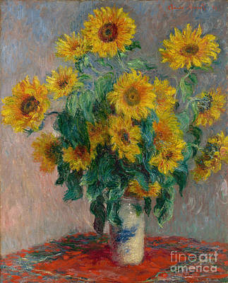 Cloth Painting - Bouquet Of Sunflowers by Claude Monet