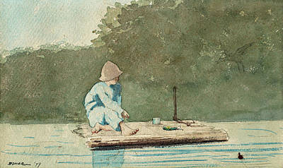 Painting -  Boy On A Raft by Winslow Homer