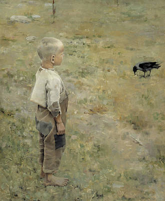 Crows Painting - Boy With A Crow by Akseli Gallen-Kallela