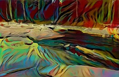 Break-up On The Mountain Taiga River Art Print