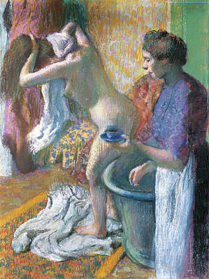 Nudes Pastel - Breakfast After The Bath  by Edgar Degas