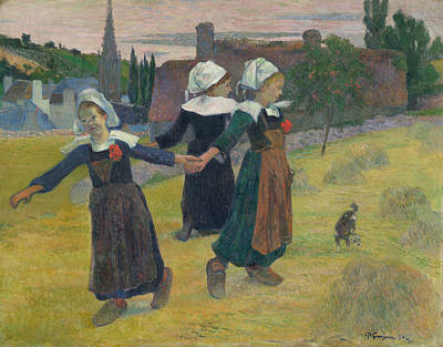 Dancing Girl Painting - Breton Girls Dancing by Paul Gauguin