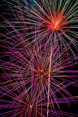 Photograph - Bright Colorful Fireworks by Garry Gay