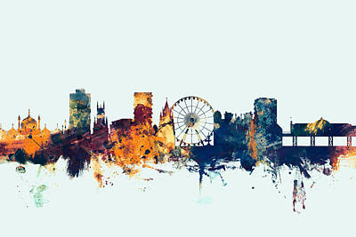 England Digital Art - Brighton England Skyline by Michael Tompsett