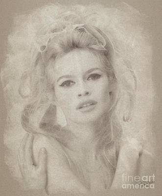 Musicians Drawings Rights Managed Images - Brigitte Bardot Hollywood Actress Royalty-Free Image by Esoterica Art Agency