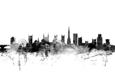 Great Britain Digital Art - Bristol England Skyline by Michael Tompsett