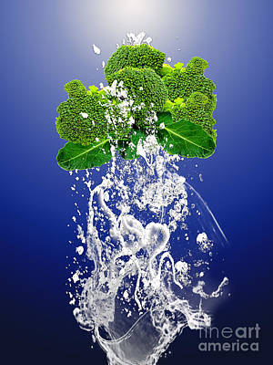 Broccoli Splash Print by Marvin Blaine