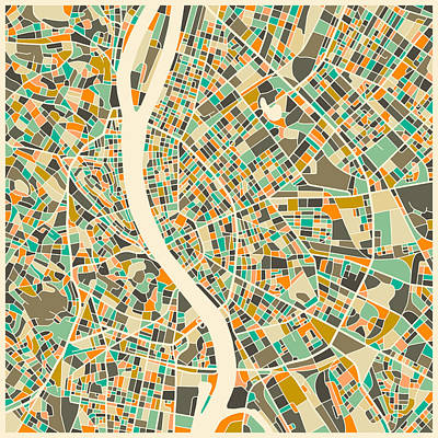 Colorful Digital Art - Budapest Map by Jazzberry Blue