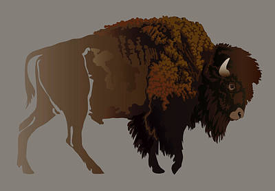 Digital Art - Buffalo by Attila Meszlenyi