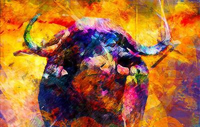 Buffalo Print by Elena Kosvincheva