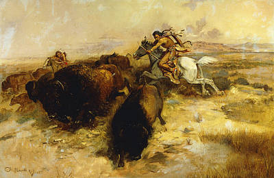 Bison Painting - Buffalo Hunt by Charles Marion Russell