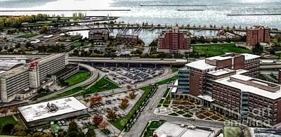 Photograph - 2 Buffalo New York Aerial View Abstract by Rose Santuci-Sofranko