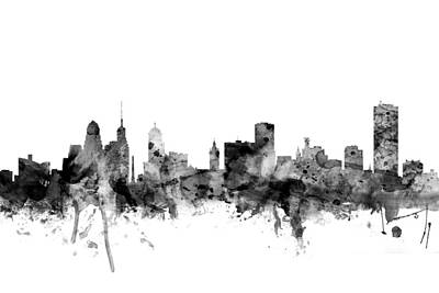 Silhouette Digital Art - Buffalo New York Skyline by Michael Tompsett