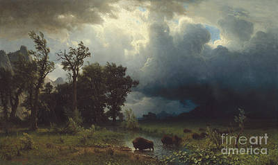 Marsh Scene Painting - Buffalo Trail  The Impending Storm by Albert Bierstadt