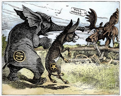 Animals Drawings - Bull Moose Campaign, 1912 by W A Carson