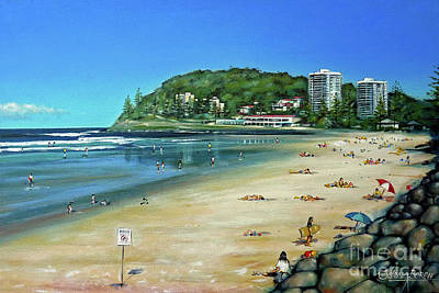 Art Print featuring the painting Burleigh Beach 100910 by Selena Boron