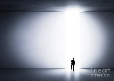 Decision Photograph - Businessman About To Cross The Entrance To The Light. by Michal Bednarek