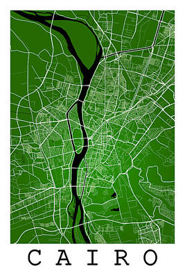 Game Of Chess - Cairo Street Map - Cairo Egypt Road Map Art on Colored Backgroun by Jurq Studio