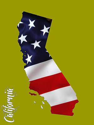 Color Image Mixed Media - California State Map Collection by Marvin Blaine