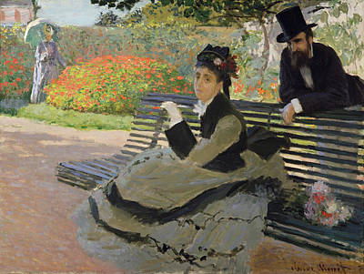 Seat Painting - Camille Monet On A Garden Bench by Claude Monet