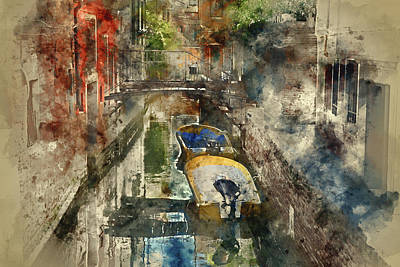 Painting - Canals Of Venice Digital Watercolor On Photograph by Brandon Bourdages