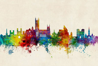Canterbury Wall Art - Digital Art - Canterbury England Skyline by Michael Tompsett