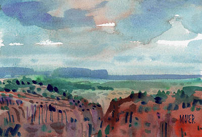 Navajo Painting - Canyon Overlook by Donald Maier