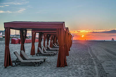 Photograph - Cape May Cabana's At Sunrise by Bill Cannon