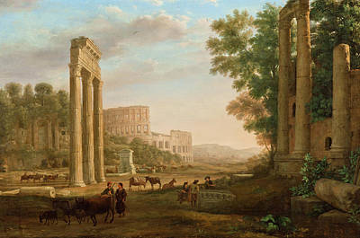 Urban Scenery Painting - Capriccio With Ruins Of The Roman Forum by Claude Lorrain