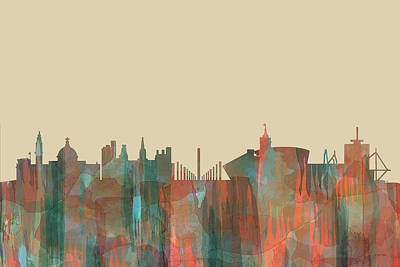 Digital Art - Cardiff  Wales Skyline by Marlene Watson