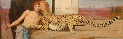 Sphinx Painting - Caresses by Fernand Khnopff