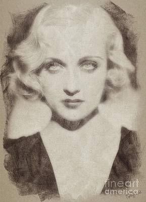 Musicians Drawings Rights Managed Images - Carole Lombard Hollywood Actress Royalty-Free Image by John Springfield