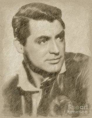Fantasy Drawings - Cary Grant Hollywood Actor by Frank Falcon