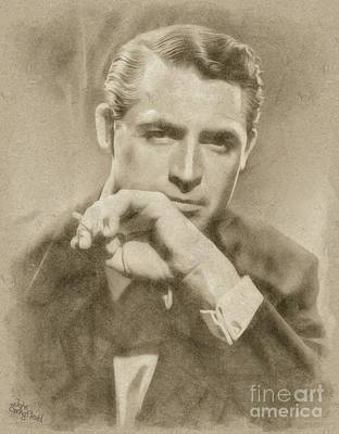 Musicians Drawings Rights Managed Images - Cary Grant Hollywood Actor Royalty-Free Image by Esoterica Art Agency