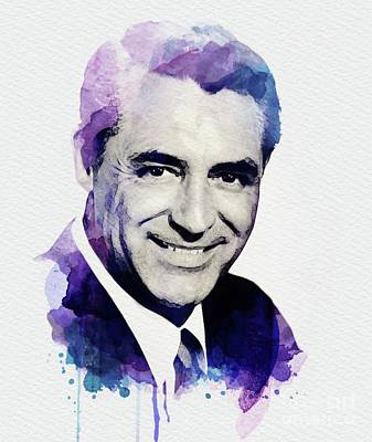 Cary Grant Wall Art - Digital Art - Cary Grant, Vintage Actor by John Springfield