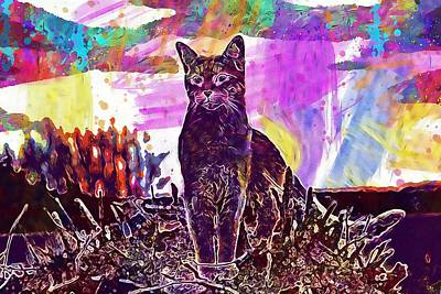 Digital Art - Cat Kitten Mackerel Tiger Cat  by PixBreak Art