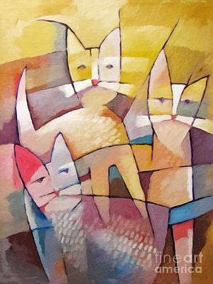Cubism Painting - Catlife by Lutz Baar