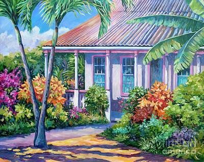 Caribbean House Wall Art - Painting - Cayman Yard by John Clark