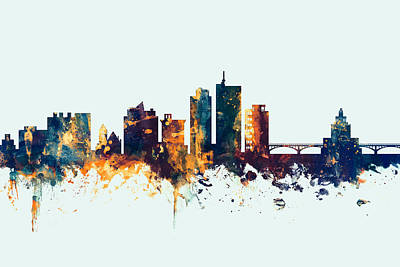 Arizona Digital Art - Cedar Rapids Iowa Skyline by Michael Tompsett