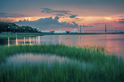 Photograph - Chaleston South Carolina Park Waterfront At Sunset by Alex Grichenko