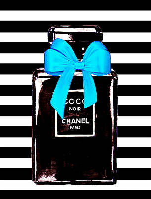 Chanel Wall Art - Mixed Media - Chanel Noir Perfume  by Del Art
