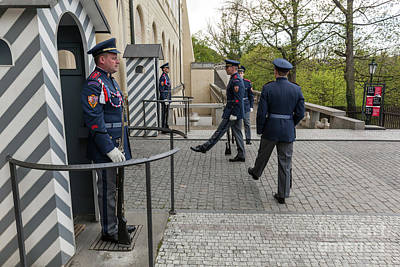 Traditional Photograph - Changing Of The Guards Of Prague Castle. Prague, Czech Republic by Michal Bednarek