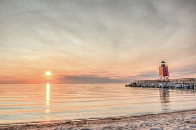 Charelvoix Lighthouse In Charlevoix, Michigan Art Print