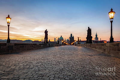 Photograph - Charles Bridge At Sunrise, Prague, Czech Republic. Dramatic Statues And Medieval Towers. by Michal Bednarek