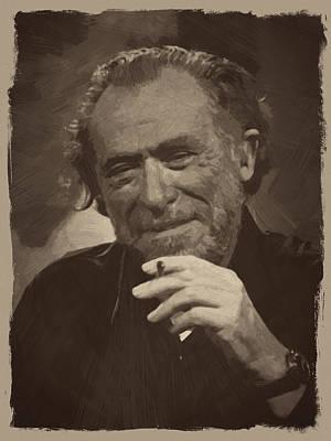 Retro Digital Art - Charles Bukowski 2 by Afterdarkness