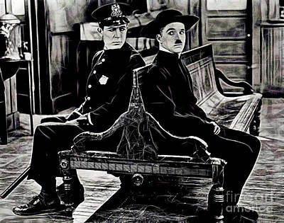 Actors Mixed Media - Charlie Chaplin Collection by Marvin Blaine