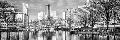 Charlotte Skyline Black And White Panorama Photo Print by Paul Velgos