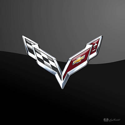 Car Photograph - Chevrolet Corvette 3d Badge On Black by Serge Averbukh