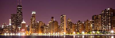 Chicago Skyline At Night Photo Art Print